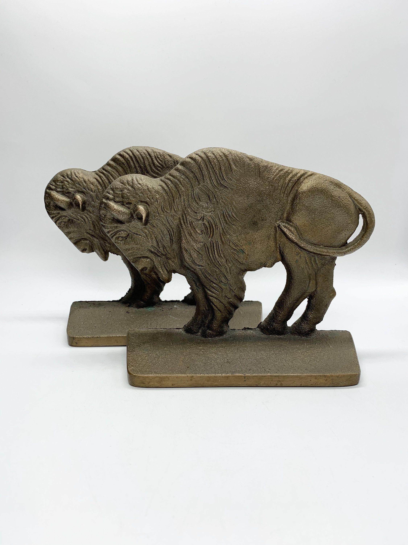Antique Verona Buffalo Book Ends Bronze Over Cast Iron In 2020 Antiques Verona It Cast
