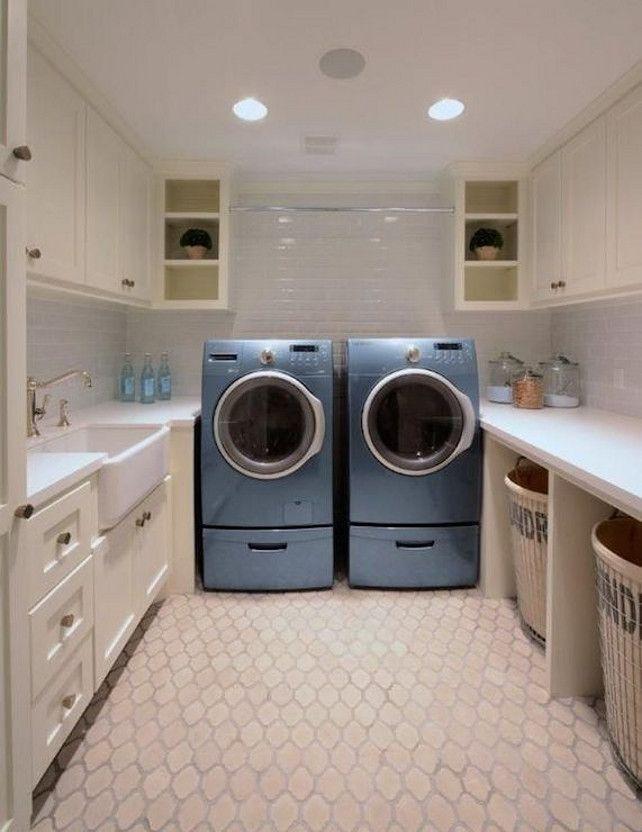 Laundry Room White Quartz Countertops And Subway Tiled Backsplash