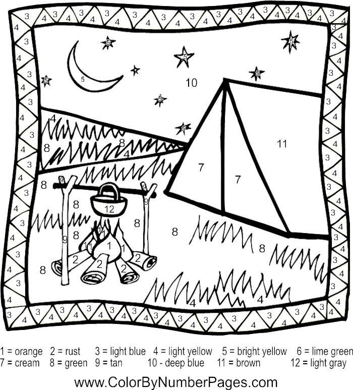 Camping Color By Number Page Coloring Pages Fall Coloring Pages