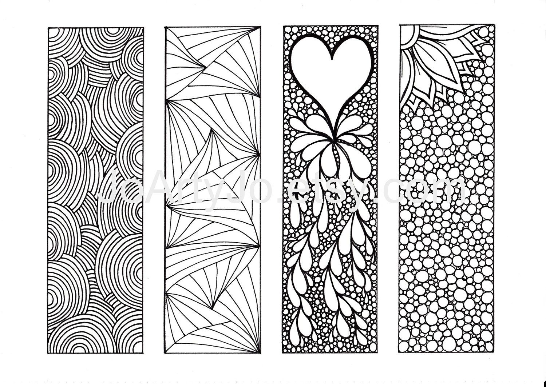 zentangle inspired art bookmarks diy, printable coloring, digital