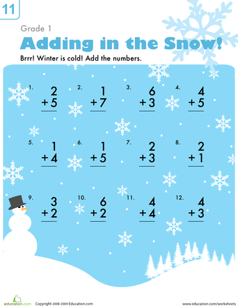 Addition in the Snow | Worksheets, Math worksheets and Math