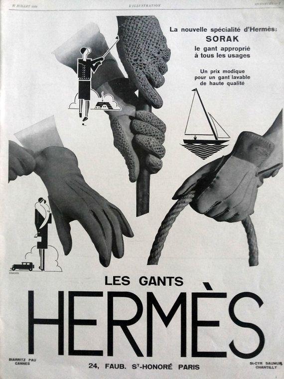 ef6d68b803e6 Gant Hermes French gloves Hermes original art deco by OldMag, $10.00  #vintage #gloves #poster