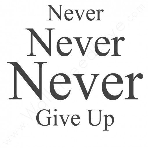 """""""Never Never Never Give Up."""""""