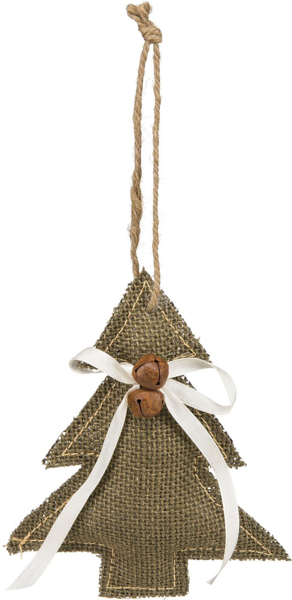 burlap christmas tree ornament with white ribbon jingle bells and