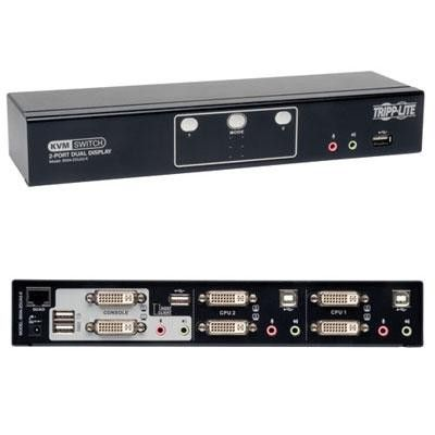 Dual Monitor KVM Switch Allows For The Control Of Two Computers With Head DVI Video Cards Via A Single Set Keyboard Mouse And Displays