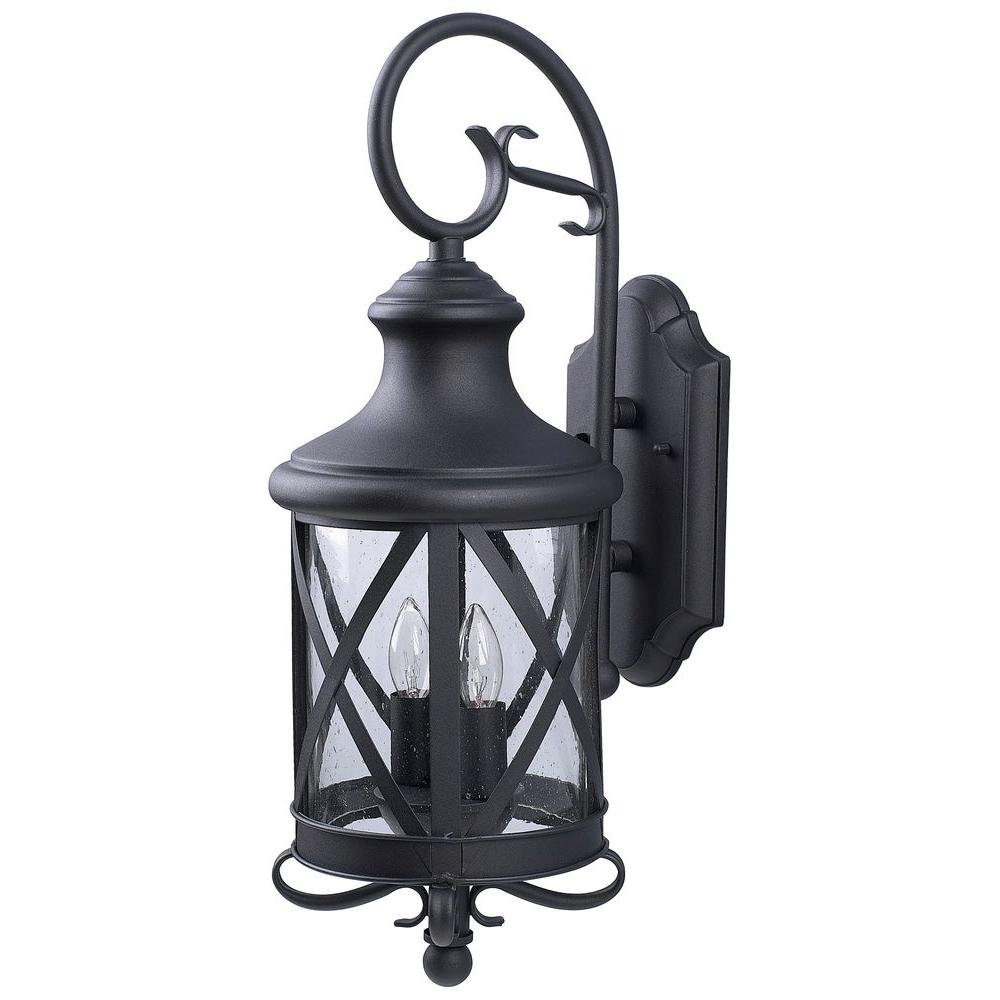 Canarm Mason 2 Light Black Outdoor Wall Lantern Sconce With Seeded Glass Iol118bk Hd The Home Depot Outdoor Wall Lantern Wall Lantern Outdoor Wall Lighting