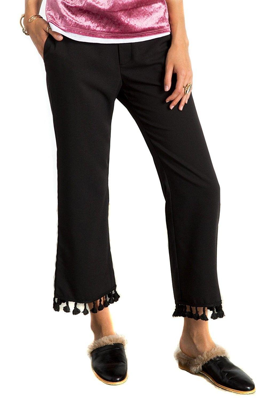 Womens genevieve pom pom tassel detail bell bottom pants black