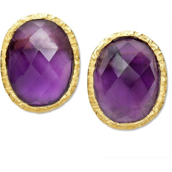 18k Gold over Sterling Silver Earrings, Amethyst Oval Stud Earrings... ($133) ❤ liked on Polyvore featuring jewelry, earrings, no color, sterling silver amethyst earrings, sterling silver jewelry, 18k gold jewelry, amethyst earrings and gold stud earrings