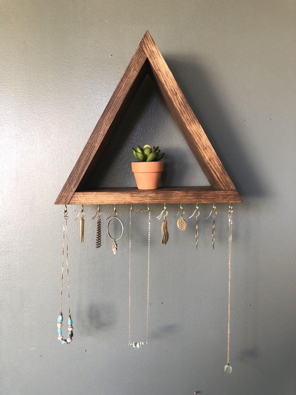 Jewelry Organizer Wall Holder Wood Shelf Earing Etsy In 2021 Diy