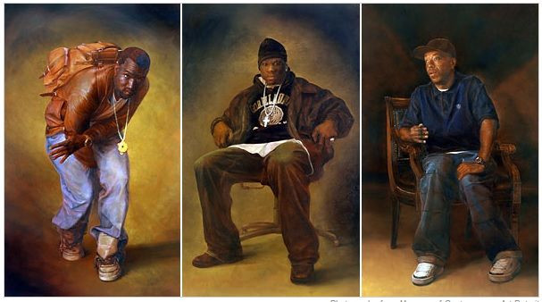 Alexander Melamid S Portraits Of From Left Kanye West 50 Cent And Russell Simmons Are In Holy Hip Hop At The Museum Of Contemporary Art Detroit