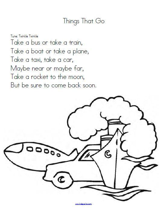 Transportation Theme Activities And Printables For Preschool Pre K And Kindergarten Preschool Songs Transportation Theme Preschool Transportation Preschool
