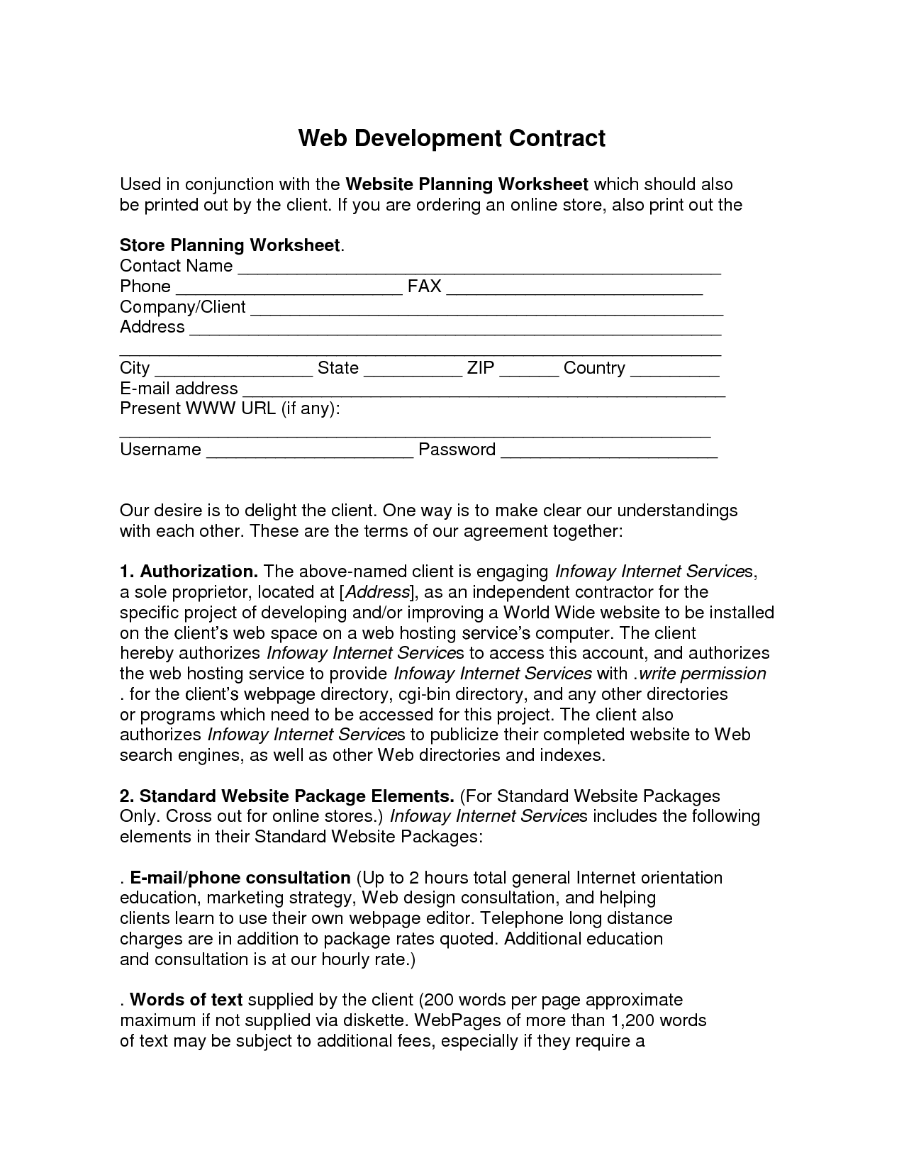 Web Development Contract Web Development Contract Used In By