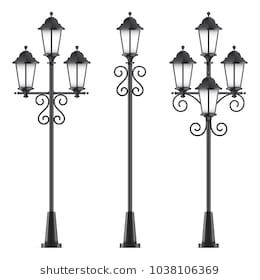 Set of vector street lamps. Black vector lampposts, isolated