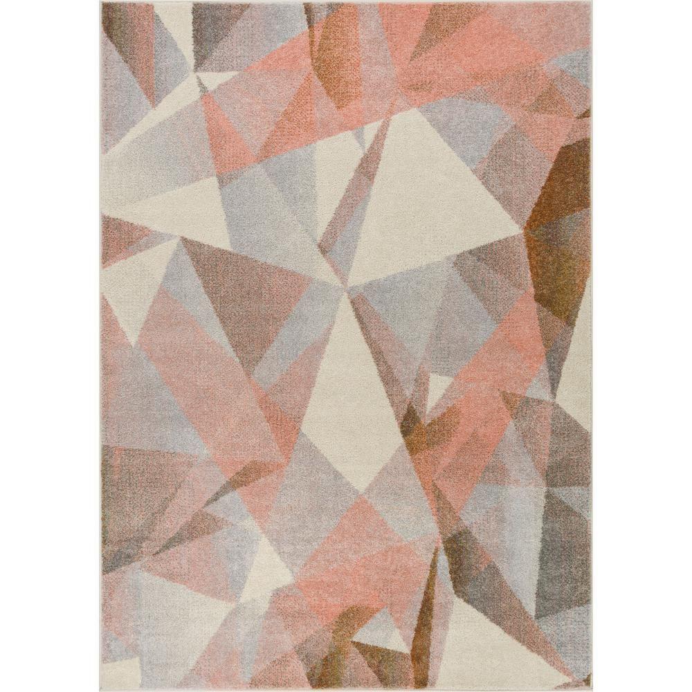 Well Woven Vettore Naomi Beige 2 ft. x 7 ft. Modern Geometric Prisma Triangle Runner Rug-VE-82-2 - T