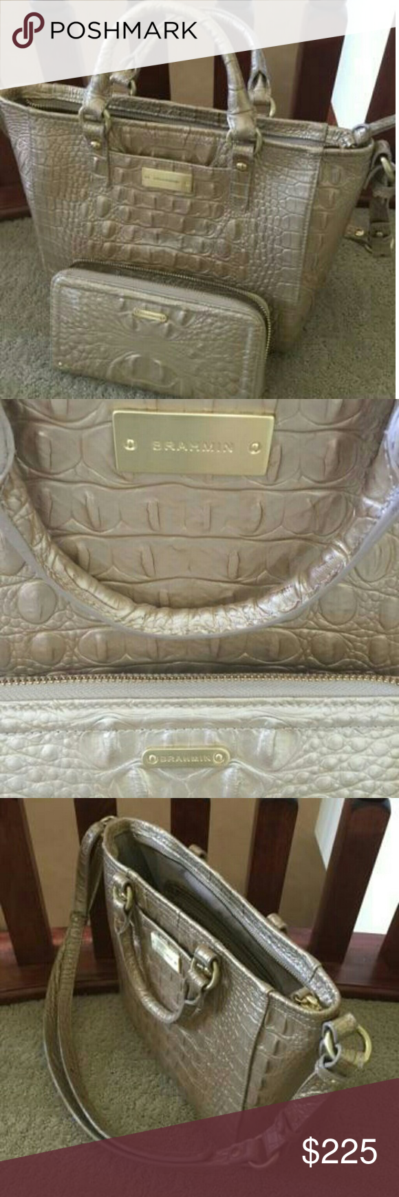 Genuine Brahmin Bag And Wallet Gorgeous Champagne Colored Tote Only Used For A Month Made From Real Crocodile Leather With