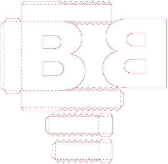 cut out, printable box, on 3d letter b template