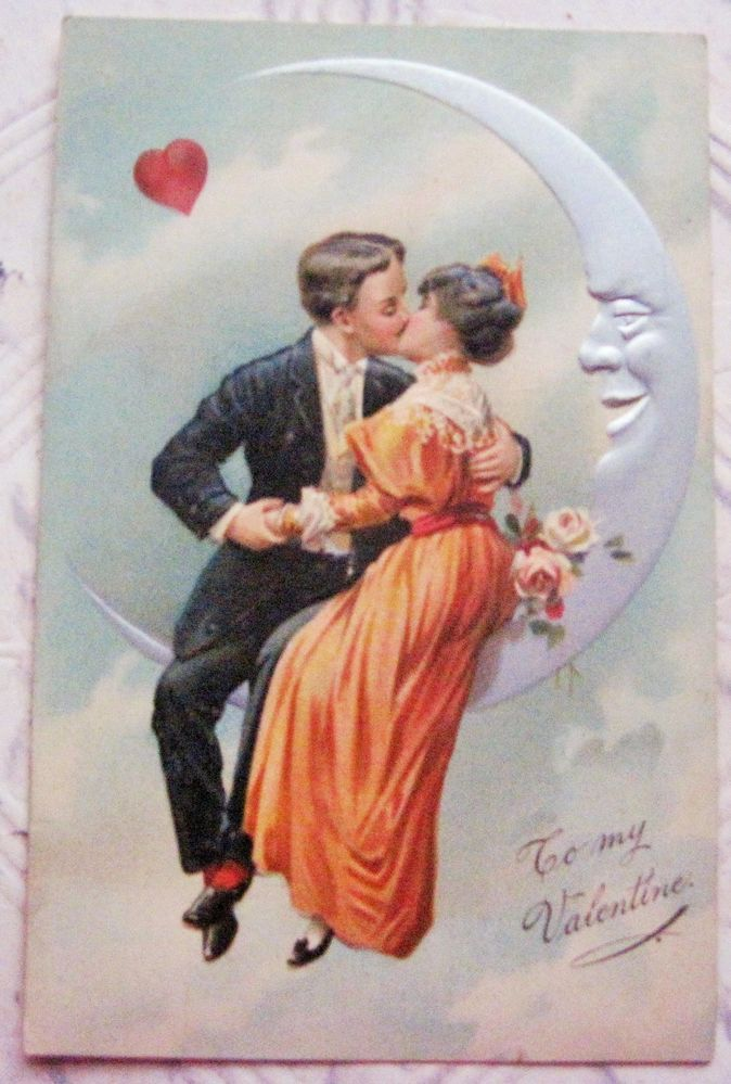 Vintage Valentine Penny Postcard Couple in the Moon   Crafts