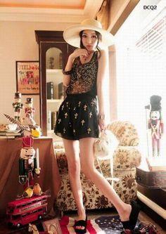 Fashion Cross Sequins Chiffon High Lady's Waist Shorts Pant