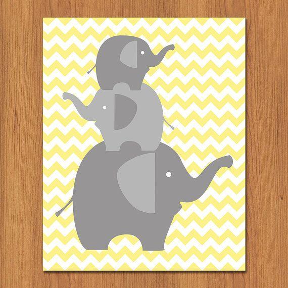 Family of Grey Elephants Nursery Wall Art Decor Grey Gray Yellow ...