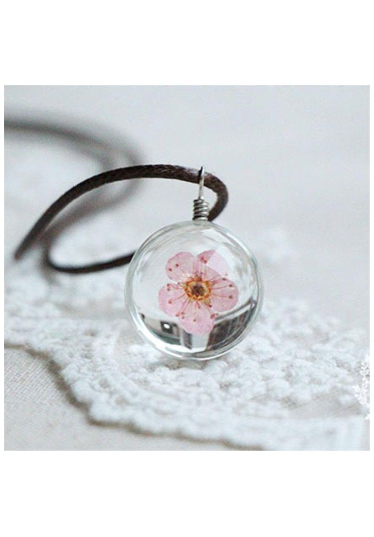Glass Crystal Ball Pendant With A Pink Flower Inside On A Leather Necklace Glass Ball Pendant Ball Pendant Charm Jewelry