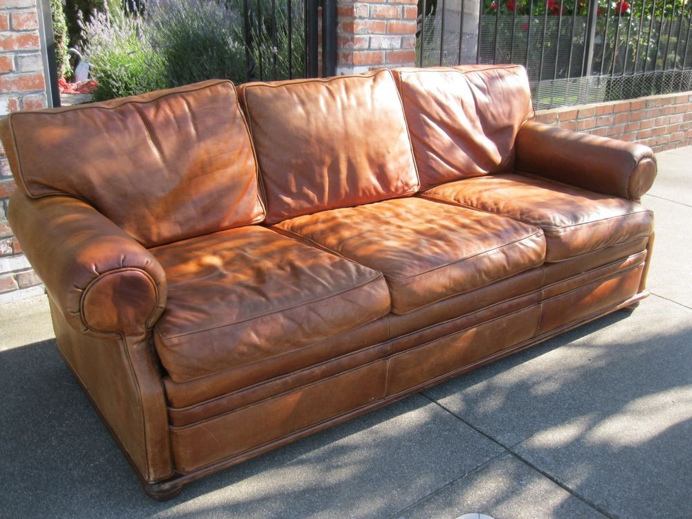 Classic Classy Ralph Lauren Distressed Leather Sofa Couch Free