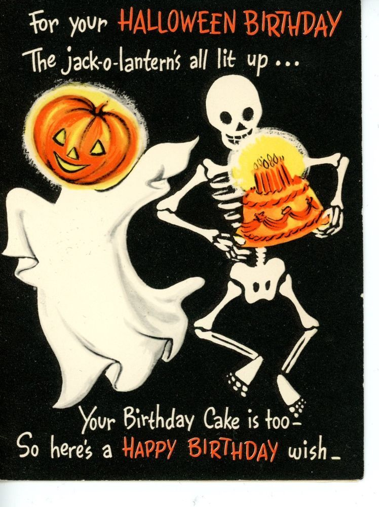Vintage HALLOWEEN BIRTHDAY Greeting Card by Gibson Ghost