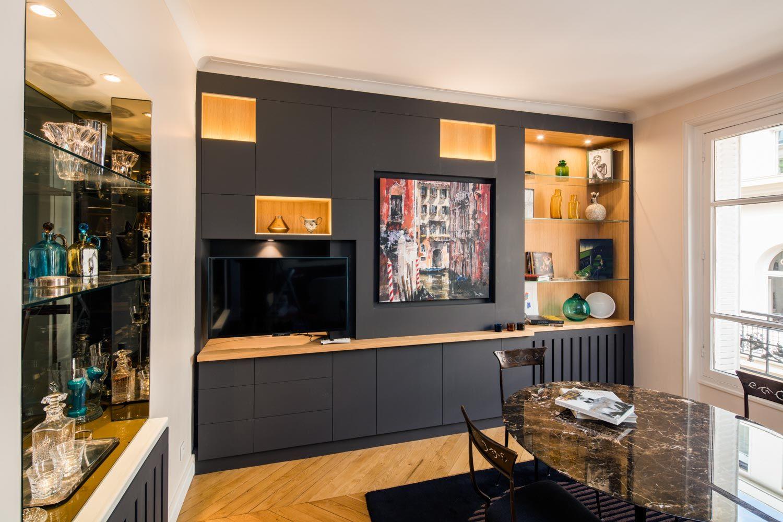bibliotheque meuble noir avec niches