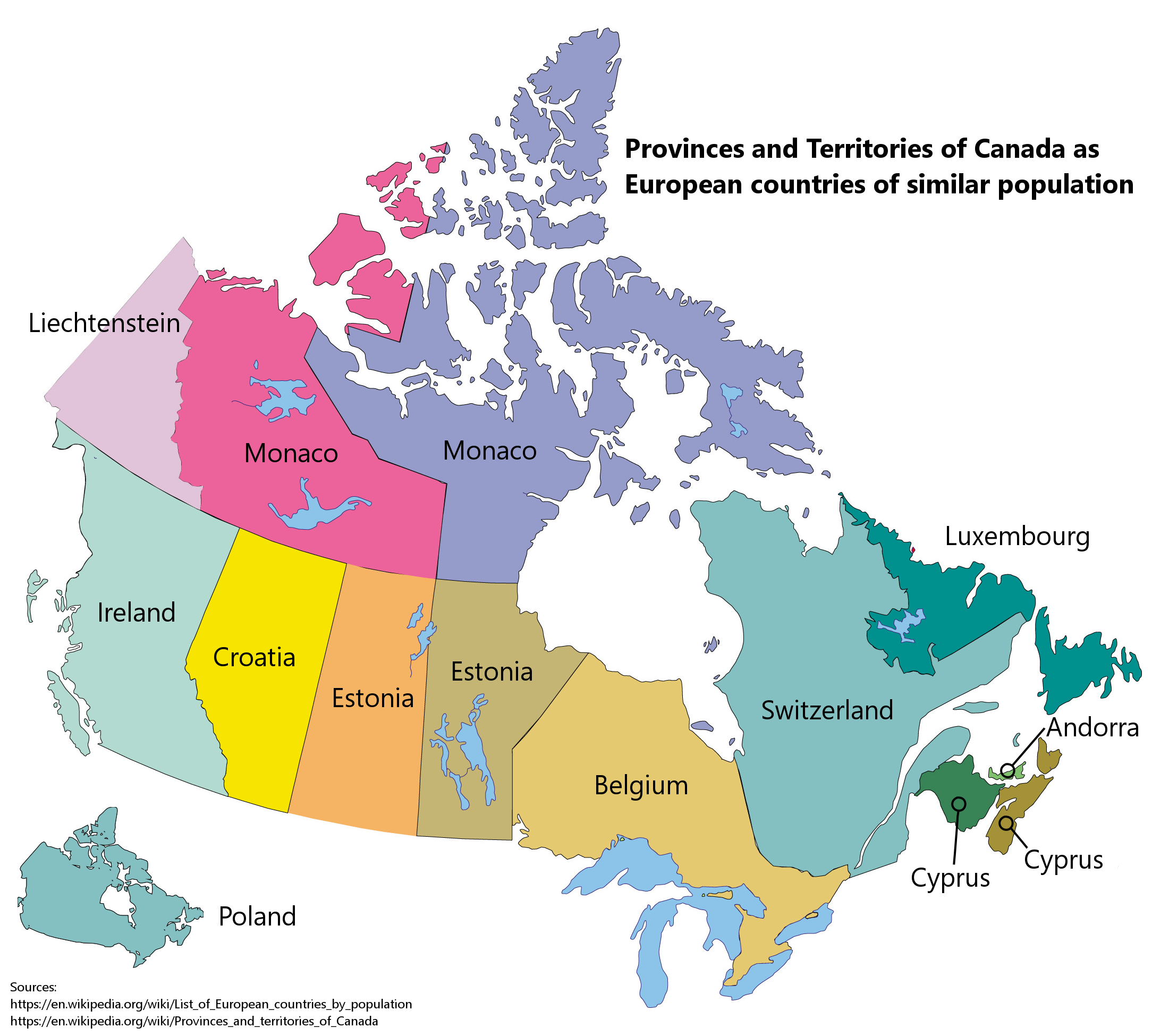 Provinces and Territories of Canada as European countries