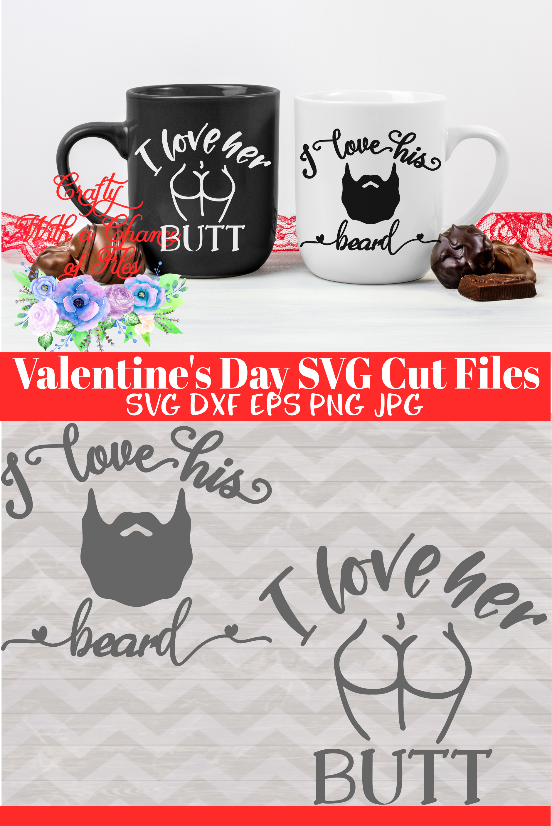 Valentine's Day Gifts for Couples - I Love His Beard I Love Her Butt SVG #sweetestdaygiftsforboyfriend