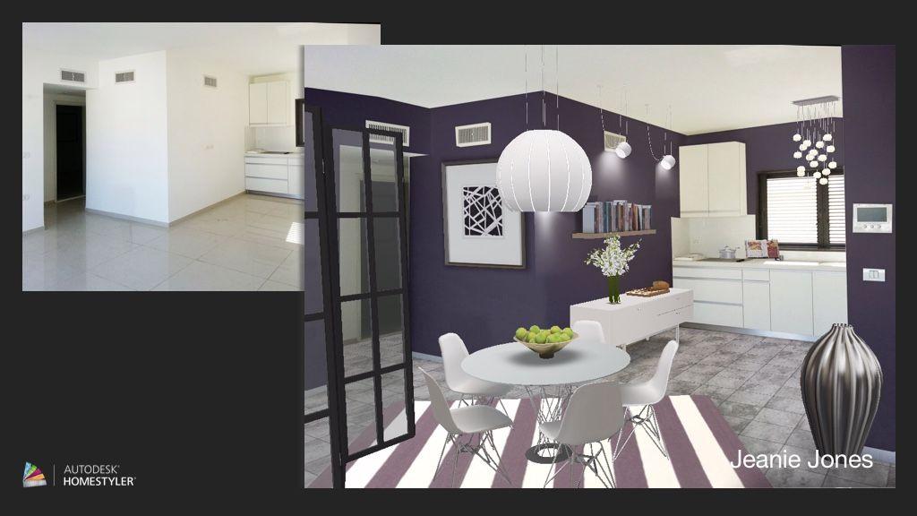 . Dark modern apt kitchen design using  autodesk  homestyler