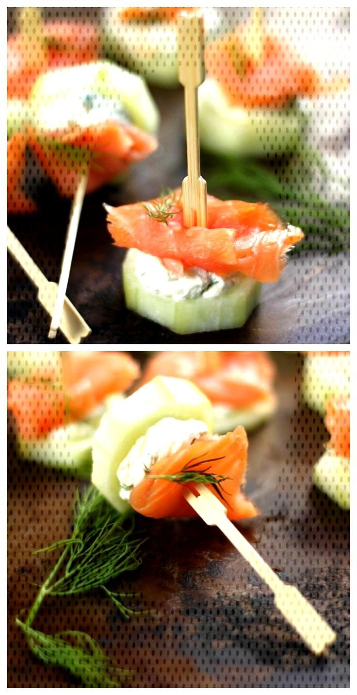 Smoked Salmon and Cream Cheese Cucumber Bites -