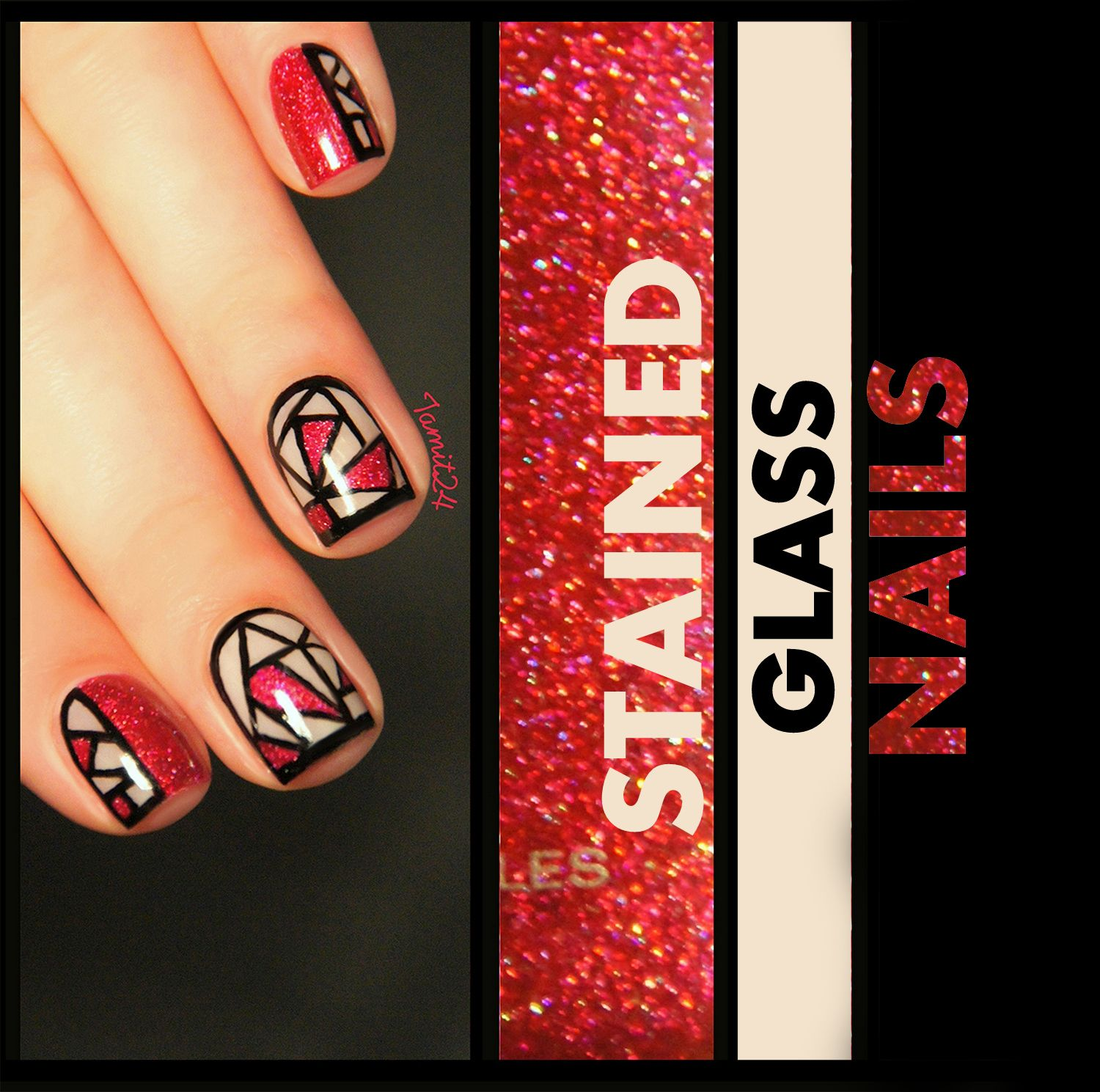 Stained Glass Nail Art: Stained Glass Nails: Orly Miss Conduct.