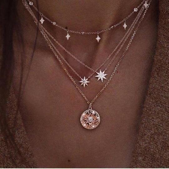 Red Fashion Beauty Woman Art Deco Gift Fashion Necklaces Pendant Retro Moon Stars Jewelry