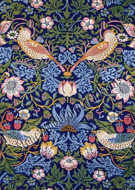 The Strawberry Thief Closeup William Morris Birds Flowers