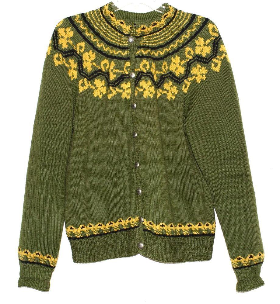 Maurtua Norway Oslo Hand Knit Green & Tan Womens Cardigan Wool ...