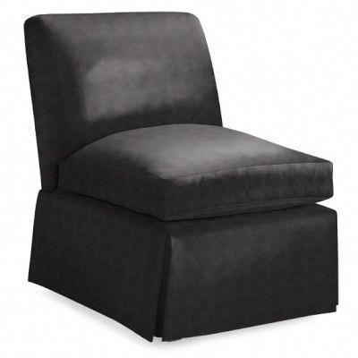 White Leather Slipper Chair Mechanics Hydraulic Stool Boyd No Skirt Solid Black Slipperchairs