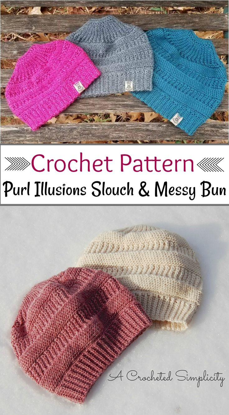 Purl Illusions Slouch & Messy Bun pattern by Jennifer Pionk | Gorros