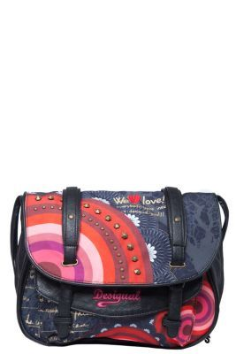 Desigual Women's Bolas Rojas bag. Fabric bag with faux-leather strap and trim. Four separate interior compartments. Magnetic fastening. Measurements: 33x30x14 cm. / 8.19
