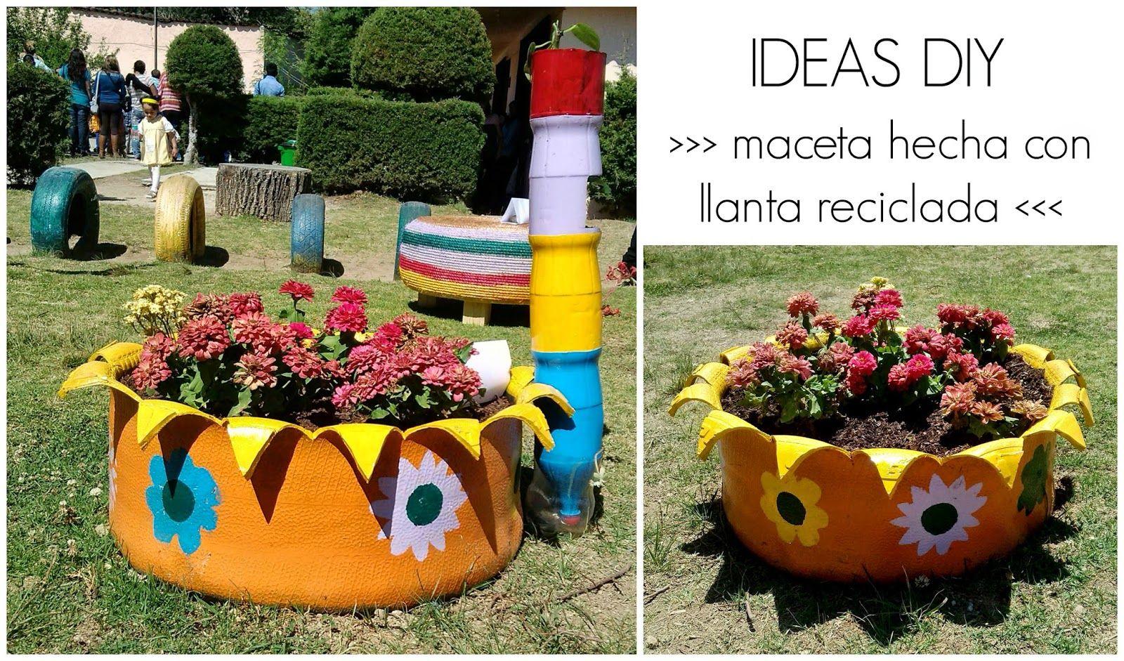 Diy Maceta Hecha Con Llanta Reciclada Llantas Recicladas Reciclaje De Llantas Maceta