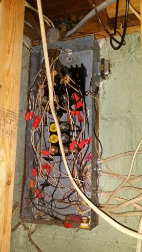 old fuse box used as a junction box!
