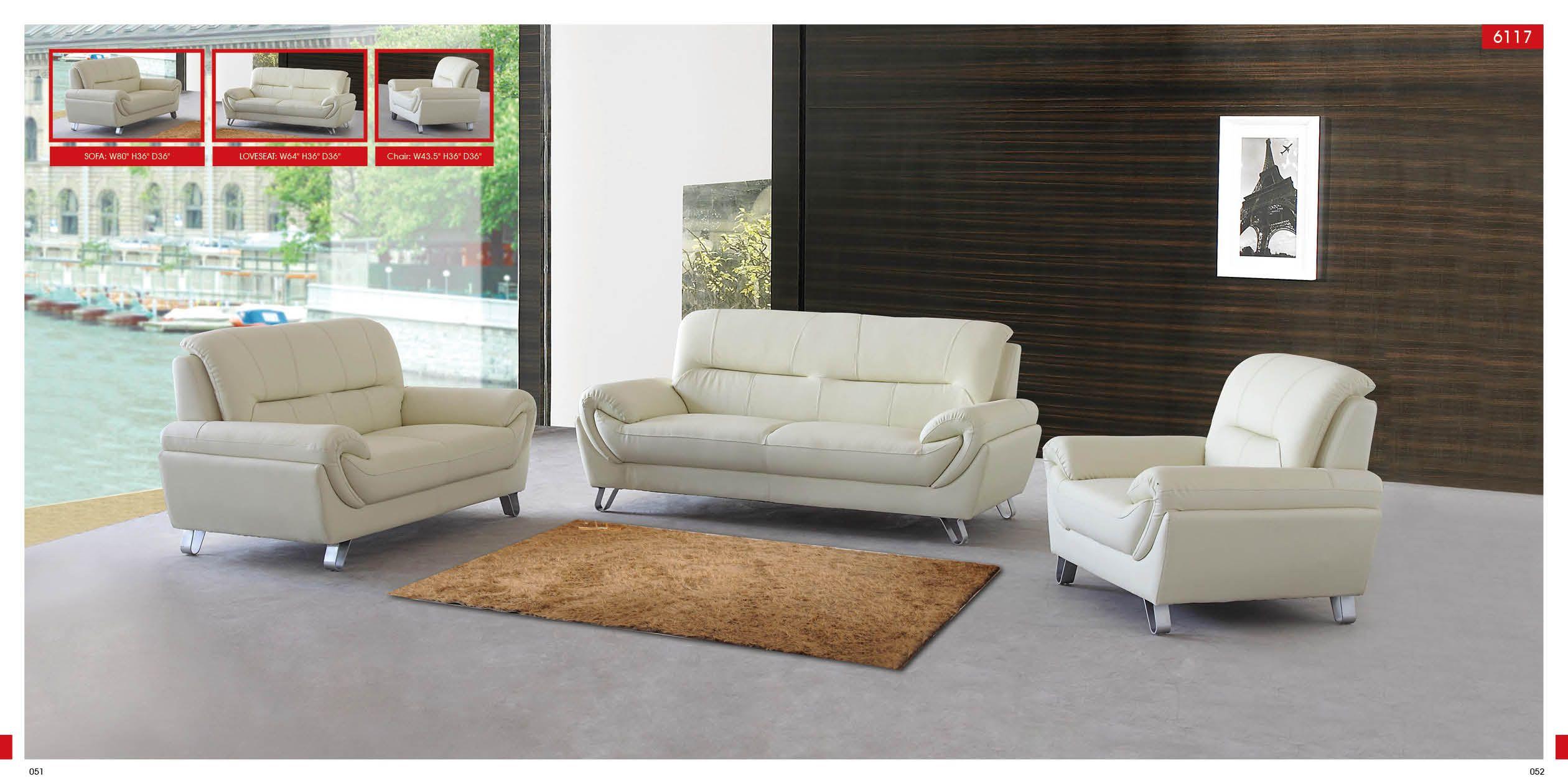 Modern Off White Leather 3 PC Sofa Set | Ikea living room ...