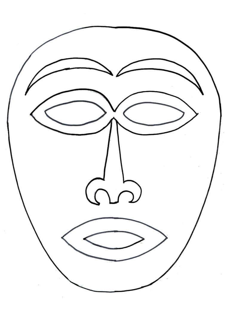 Maschera Africana Maschere Da Colorare Occhi E Bocca Da Ritagliare Maschere Arte Colori