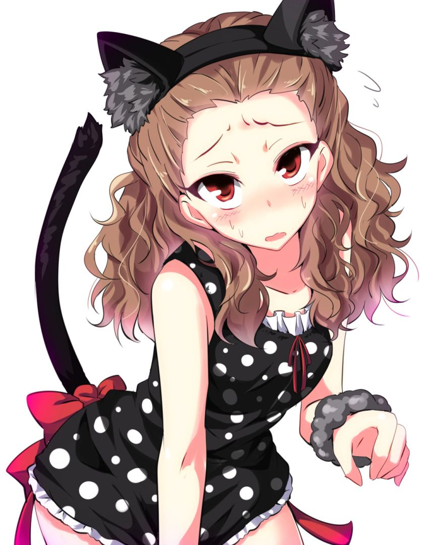 1girl animal_ears black_dress brown_hair cat_ears cat_tail