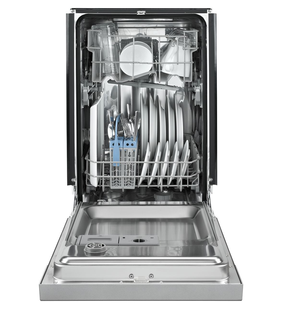 Front Control Dishwasher In Black With Stainless Steel Tub