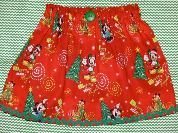 disney christmas fabric skirt or dress peasant style mickeys very merry christmas party infant toddler girls ladies skirt or dress - Disney Christmas Fabric