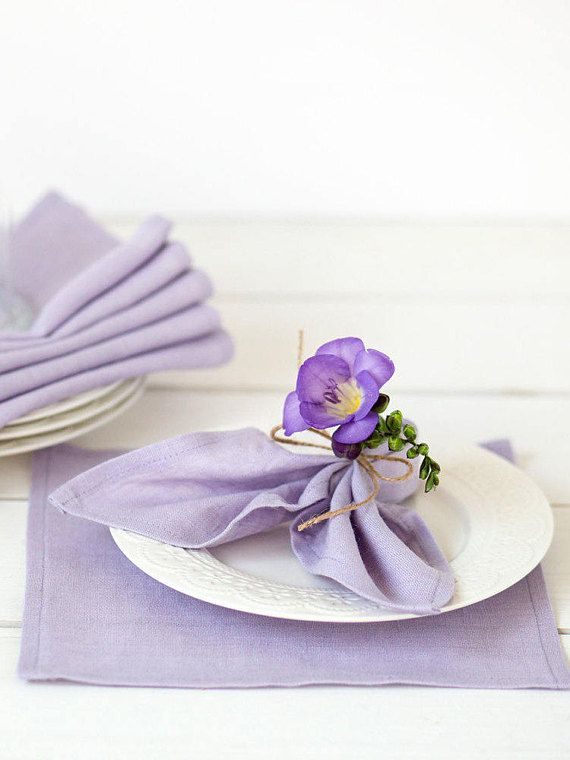 Lavender Linen Napkins Set Of 6 Purple Napkin Cloths Ultravioletweddingideas Springwedding Weddingtable Wedding