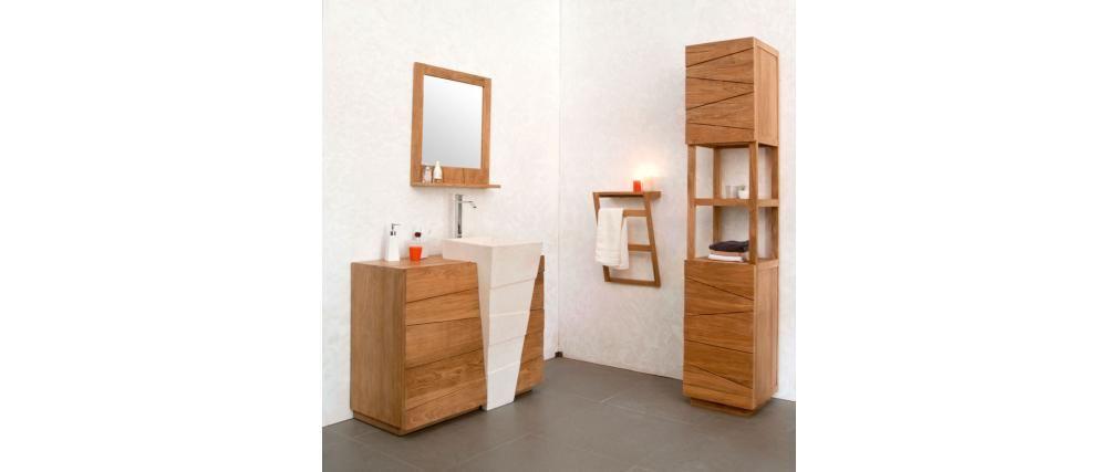 Colonne de salle de bain en teck design ARU - Miliboo Maison