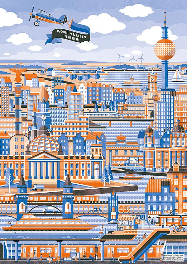 Adrian Bauer Illustration Berliner Volksbank Immobilien Gmbh City Illustration Illustration City Photo