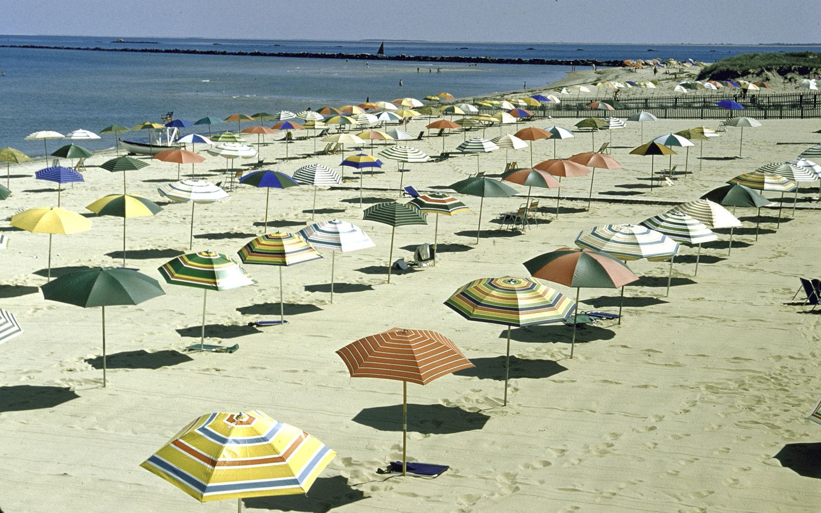 Nantucket Beach Chair Company Best Posture Office Uniform Rows Of Colorful Umbrellas Await Beachgoers