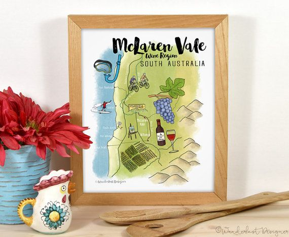 Illustrated Map Travel Art Print McLaren Vale Wine Region South